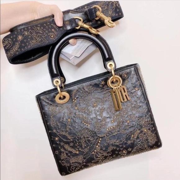 Dior lady Dior medium black gold